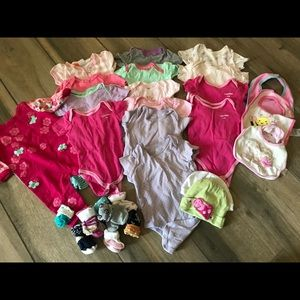 Huge lot baby girls socks one pieces bibs hats 0/3